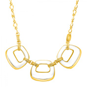 Cristina Sabatini Clear Resin Deco Link Necklace with Cubiz Zirconia in 18kt Gold-Plated Sterling Silver