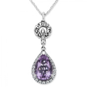 Evert deGraeve 3 1/10 ct Amethyst & White Sapphire Pendant Necklace in Sterling Silver