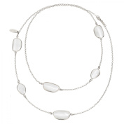 Zoccai 925 Milky Quartz Station Necklace in Sterling Silver