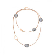 Zoccai 925 Slate Quartz Link Necklace in Rose Gold-Toned Sterling Silver