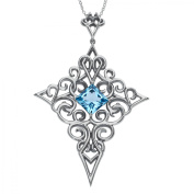 Evert deGraeve 5 5/8 ct Natural Baby Blue Topaz Cross Pendant Necklace in Sterling Silver