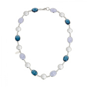 Zoccai 925 Agate, London Blue Topaz & Chalcedony Necklace in Sterling Silver