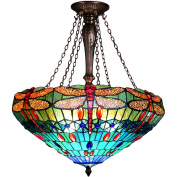 Chloe Lighting Scarlet . 3-Light Dragonfly Inverted Ceiling Pendant with 60cm Shade