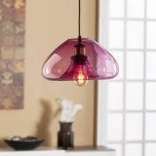 Southern Enterprises Zoola Pendant Lamp with Rose Coloured Glass