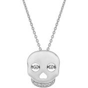 1/10 Carat T.W. Diamond Sterling Silver Twinkling Skull Pendant, 46cm