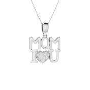 Trillion Designs S925 Sterling Silver 1/10 Ct Round Cut Natural Diamond I Love You MOM Pendant Necklace H-I I2