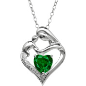 Mother and Child Simulated Emerald and Diamond Accent Pendant in Sterling Silver, 46cm