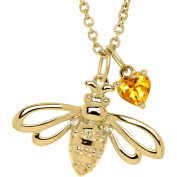 Petite Expressions Citrine Bumble Bee Charm Necklace in Gold-Plated over Sterling Silver, 46cm