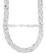 PORI Jewellers Italian Sterling Silver 5-Row Braided Necklace, 46cm