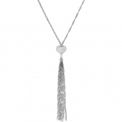 Simply Silver Heart with Bead Tassel Sterling Silver Lariat Necklace, 46cm