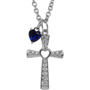 Petite Expressions Created Sapphire Cross Charm Necklace in Sterling Silver, 46cm