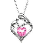 Mother and Child Created Pink Sapphire and Diamond Accent Pendant in Sterling Silver, 46cm