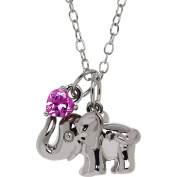 Petite Expressions Created Pink Sapphire Elephant Charm Necklace in Sterling Silver, 46cm