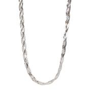 PORI Jewellers Italian Sterling Silver 3-Row Herringbone Necklace, 41cm