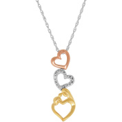 Mother and Child Diamond Accent Triple Open Heart Tri-Colour Gold over Silver Pendant, 46cm