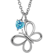 Petite Expressions Created Blue Topaz Butterfly Charm Necklace in Sterling Silver, 46cm
