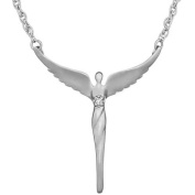 Lavaggi Jewellery Sterling Silver CZ Accent Perfect Angel Pendant Necklace, 46cm Chain
