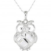 Simply Silver CZ Sterling Silver Owl Pendant