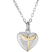 Lavaggi Jewellery Sterling Silver Petite Radiant Inspirational Gold-Plated Angel Heart Necklace, 46cm Chain, 925 Designer