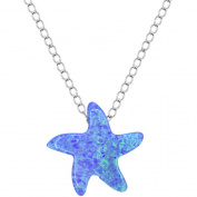 American Designs Sterling Silver Jewellery Created Opal Blue Starfish Necklace, 41cm Chain