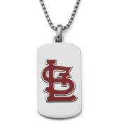 MLB Licence Stainless Steel St. Louis Cardinals Dog Tag Logo Pendant, 60cm Chain