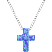 American Designs Sterling Silver Jewellery Created Opal Blue Cross Necklace, 41cm Chain