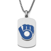 MLB Licence Stainless Steel Milwaukee Brewers Dog Tag Logo Pendant, 60cm Chain