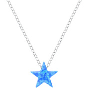 American Designs Sterling Silver Jewellery Created Opal Blue Star Necklace, 41cm Chain