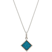 American Designs Pave Square Blue Turquoise Sterling Silver Geometric Black Rhodium-Plated Charm Pendant Necklace, 46cm Chain
