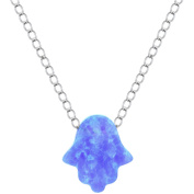 American Designs Sterling Silver Jewellery Created Opal Blue Hamsa Hand Necklace, 41cm Chain