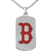 MLB Licence Stainless Steel Boston Red Socks Dog Tag Logo Pendant, 60cm Chain