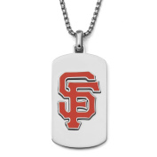MLB Licence Stainless Steel San Francisco Giants Dog Tag Logo Pendant, 60cm Chain
