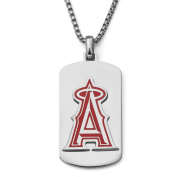 MLB Licence Stainless Steel LA Angels Dog Tag Logo Pendant, 60cm Chain