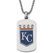 MLB Licence Stainless Steel Kansas City Royals Dog Tag Logo Pendant, 60cm Chain