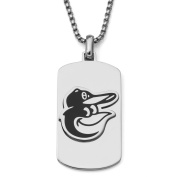 MLB Licence Stainless Steel Baltimore Orioles Dog Tag Logo Pendant, 60cm Chain