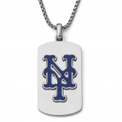 MLB Licence Stainless Steel New York Mets Dog Tag Logo Pendant, 60cm Chain