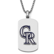 MLB Licence Stainless Steel Colorado Rockies Dog Tag Logo Pendant, 60cm Chain
