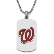MLB Licence Stainless Steel Washington Nationals Dog Tag Logo Pendant, 60cm Chain