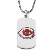 MLB Licence Stainless Steel Cincinnati Reds Dog Tag Logo Pendant, 60cm Chain