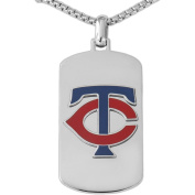 MLB Licence Stainless Steel Minnesota Twins Dog Tag Logo Pendant, 60cm Chain