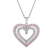 Gemspirations Sterling Silver Plated Simulated Pink Sapphire with CZ Accents Heart Pendant, 46cm