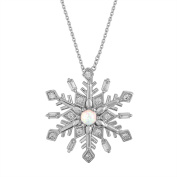 Gemspirations Sterling Silver Plated Simulated Opal with CZ Accents Snowflake Pendant, 46cm