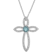 Gemspirations Sterling Silver Plated Simulated Blue Topaz with CZ Accents Cross Pendant, 46cm