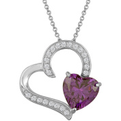 Gemspirations Sterling Silver Plated Simulated Amethyst with CZ Accents Heart Pendant, 46cm
