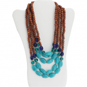 Turquoise Bead and Brown Wood Gold-Tone Layered Necklace, 48cm with 7.6cm Extender