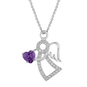 Gemspirations Sterling Silver-Plated Simulated Amethyst with CZ Accents Angel Pendant, 46cm