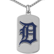 MLB Licence Stainless Steel Detroit Tigers Dog Tag Logo Pendant, 60cm Chain