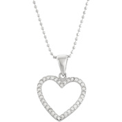 5th & Main Sterling Silver Open Heart Pendant with CZ Stones