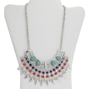 Turquoise and Coral Silver-Tone Bib Necklace, 46cm with 7.6cm Extender