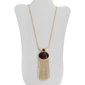 Burgundy Stone Gold-Tone Oval Pendant Necklace, 90cm with 7.6cm Extender